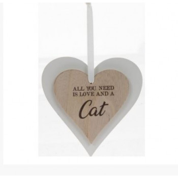 All you need is love & a CAT - heart decoration