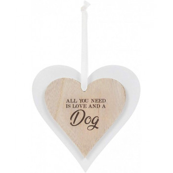 All you need is love & a DOG - heart decoration