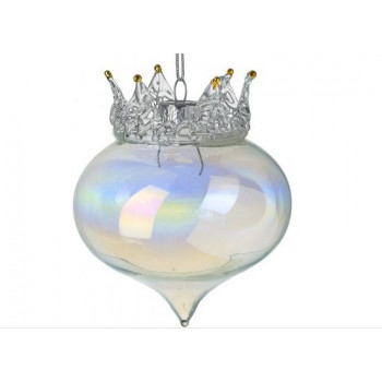 Crown Iridescent Christmas Bauble