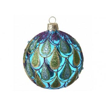 Glass & Glitter Peacock Design Bauble