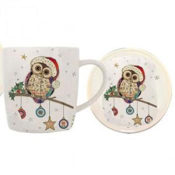Bug Art Kooks Christmas Owl Mug & Coaster Set