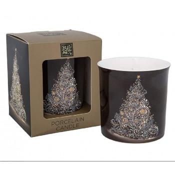 Bug Art Christmas Tree Design Porcelain Candle