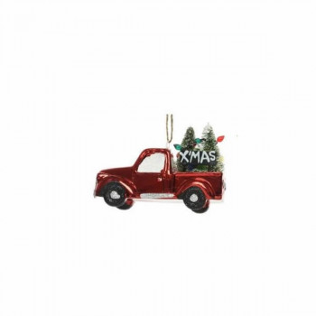 Festive Red Truck with Xmas Trees Hanging Decoration