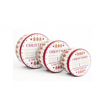 Gingerbread Themed Round Christmas Storage Tins (set of 3)