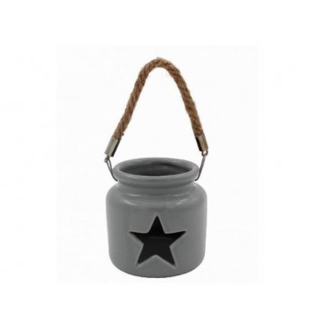 Grey Star Tealight Holder with Rope Handle (10cm)