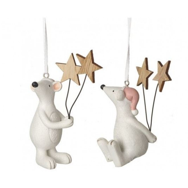 White Mouse Sitting With Stars Ornament