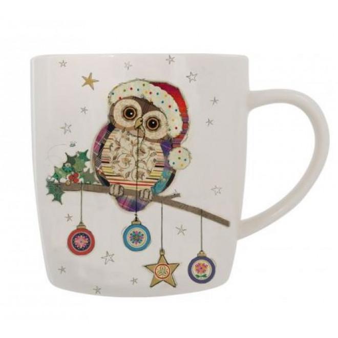Bug Art Kooks Christmas Owl Mug