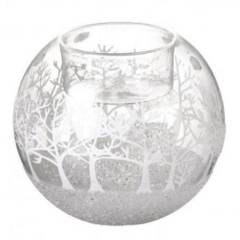 Glass Christmas Scene T-light Holder 8cm