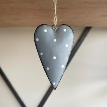 Grey Metal Heart with Dotty Print 7cm