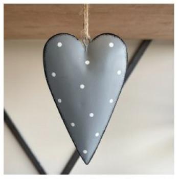 Grey Metal Heart with Dotty Print 11cm
