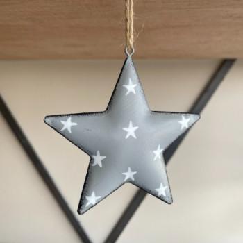 Grey Metal Star with Starry Print 11cm