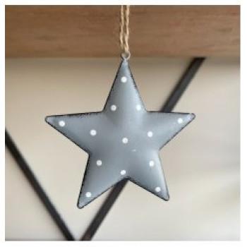 Grey Metal Star with Dotty Print 11cm