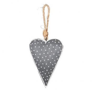 Grey Hanging Nordic Heart 13cm