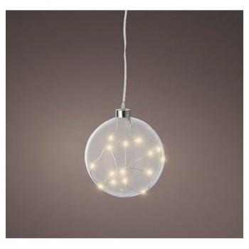 LED Glass Light Up Bauble 12cm