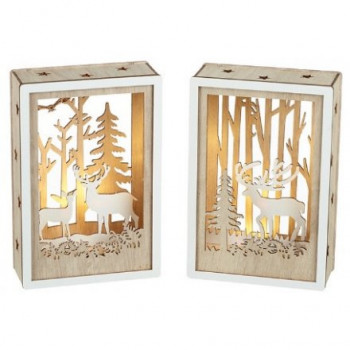 LED Light Up Woodland Scene Plaques in Natural Wood (15x10cm)
