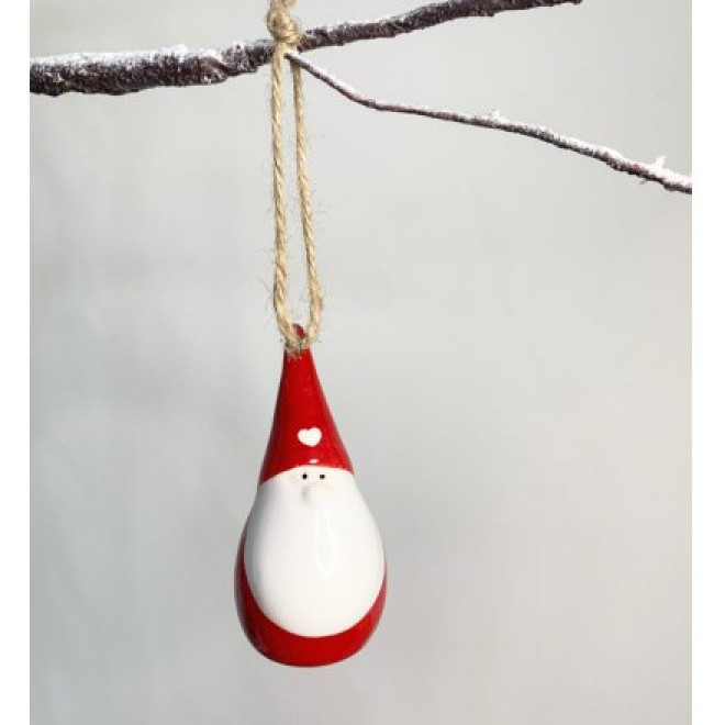 Red & White Heart Gonk Hanging Decoration 8cm