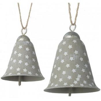 Grey Rustic Metal Bells with Starry Print 11cm