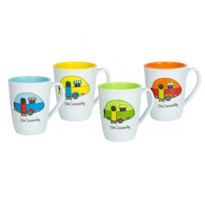 Flamefield Camper Mug Set (4) 'Love Caravanning'