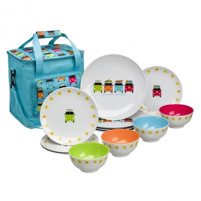 Camper Smiles Melamine Set With Cooler Bag