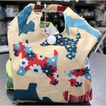 Eco-Chic Foldable Handy Shopper Bag - Beige Scottie Dogs