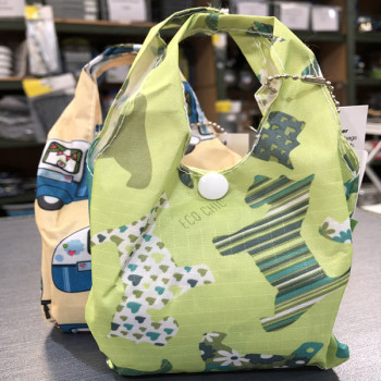 Eco-Chic Foldable Handy Shopper Bag - Green Scottie Dogs