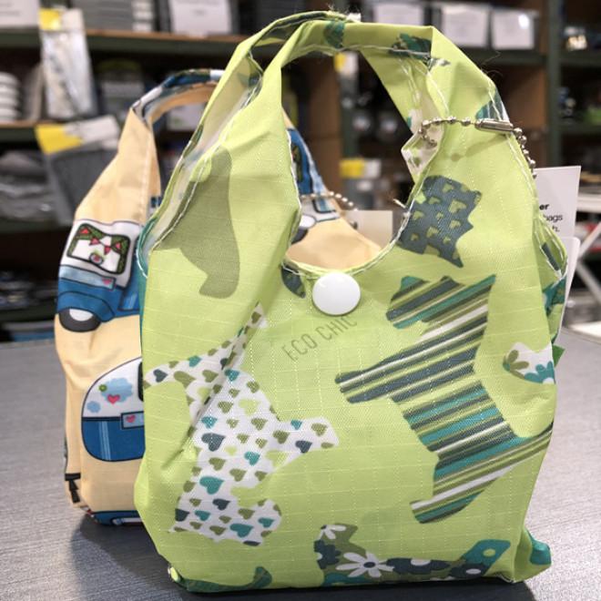 Eco-Chic Foldable Handy Shopper Bag - Green Scottie Dogs