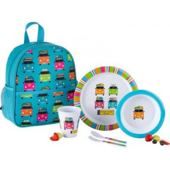 Flamefield VW Camper Smiles Child's Backpack & Dining Set